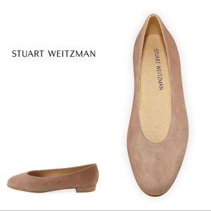 Stuart Weitzman Suede Almond Toe Flat